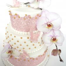 vestuvinis tortas su ažūru ir orchidėja